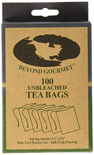 Beyond Gourmet 22023 Disposable Tea Bags Brews 3-6 Cups, Box of 100 Unbleached Natural Paper