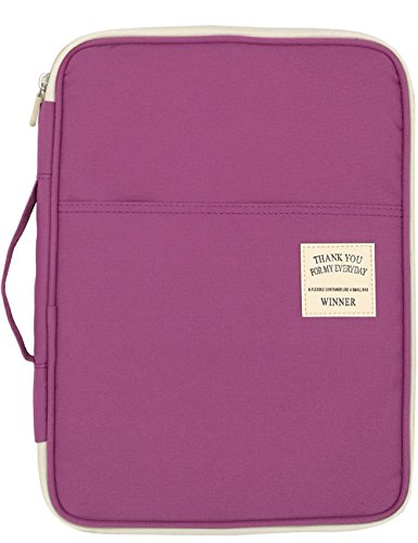 Mygreen Multi-functional A4 Document Bags Portfolio Organizer-Waterproof Travel Pouch Zippered Case for Ipads, Notebooks, Pens, Documents (Purple)