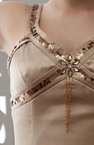 Braun mit GEORGE Perlen Abendkleid Kurz Gurte BRIDE HqrYHxF