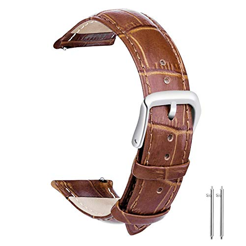 Brown Crocodile Leather Watch - 22mm Watch Bands Leather, Vetoo Quick Release Classic Genuine Leather Replacement Watch Strap Wristband for Men and Women (Brown)