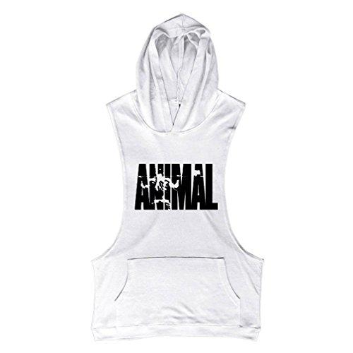 Fitness Allenamento Body Animale Building Befox Top Anglo Muscoli Per Bianco Stampa Lettere canottiera Da zPzUxwBInq