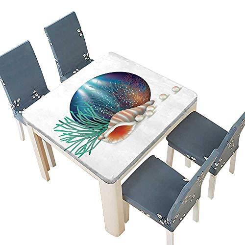 PINAFORE Natural Tablecloth Underwater World Shelled Mollusk Corals Pearls Crystalline Form Sea Nautical Theme Mu Home Use, Machine Washable 69 x 69 INCH (Elastic Edge)