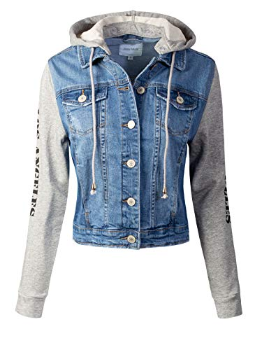Design by Olivia Women's Classic Casual Detachable Hooded Denim Jacket Denim L