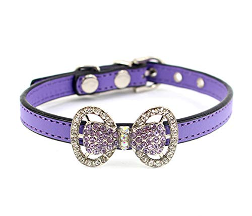 COCOPET Luxury Handmade Bling Rhinestone Pet Cat Bow Tie Collar Necklace Jewelry for Small Cats Female Puppies Chihuahua Yorkie Costume Outfits, Adjustble Buckle Purple (XS)