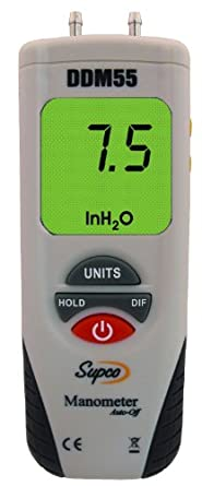 """Supco DDM55 Dual Input Digital Differential Manometer with LCD Display, -55 to 55"""" H20 Measuring Range, 0.01"""" Resolution, Battery Operated"""