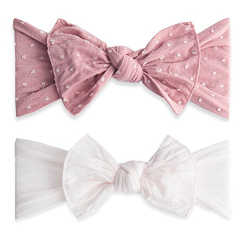 Baby Bling Bow 2 Pack: Shabby Dot and Classic Knot Girls Baby Headbands - MADE IN USA - Mauve Dot/Ballet Pink