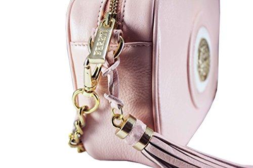 FERETI Borsa a tracolla piccola vera pelle rosa e bianco catena doro con nappa e Leone Fereti