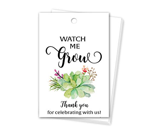 Succulent Watch me Grow Favor Tags- Pack of 25 - Baby Shower Thank You Tags, Watch me Grow Tags for Succulents, Greenery Favors, Seed Bag Favors, Hang Tags, Rustic Tag T300-FT2