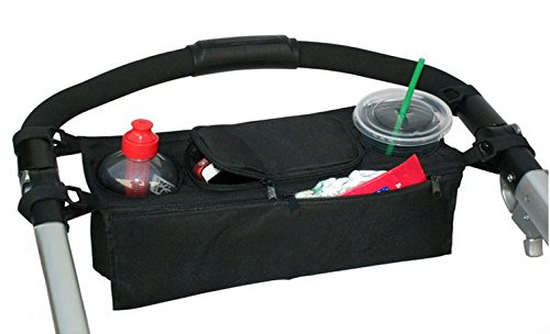 liltourist Carrito organizador, bolso para cochecito con dos soportes de taza y bolsillos con cremallera., Negro