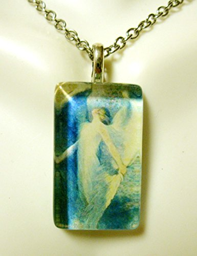 Angel with blue wings glass pendant - GP09-238 ()
