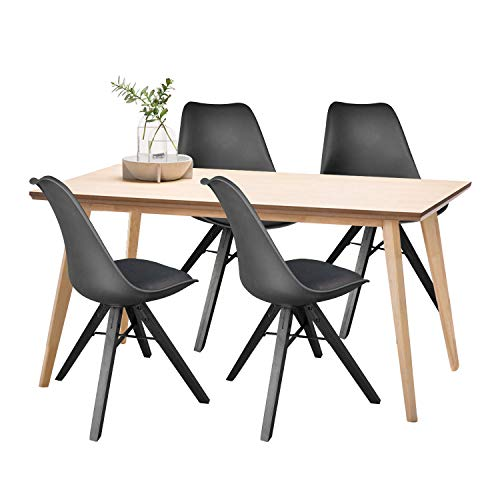 Heyesk Dining Room Chair Set of 4 Mid Century Modern Chairs,Upholstered Seat (Black, 4)