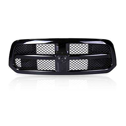 AA Products Fits 2013-2017 Dodge Ram 1500 Gloss Black Front Bumper Mesh Radiator Grille w/Logo