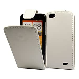 Blanco PU Flip Funda Cuero Case Para HTC One V