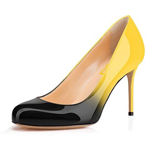 FSJ Shoes Toe Formal 15 Black Dress Women US Heels Cm Size Round Pumps on Yellow 10 Slip for 4 High PP6rXx