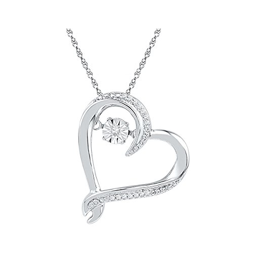 (Sonia Jewels 10k White Gold Moving Dancing Rhythm Twinkle Round Diamond Heart Pendant (1/20)