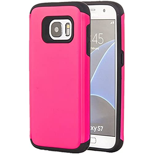 Galaxy S7 Case, Tuff Armor Rugged Hybrid Dual Layer Heavy Duty Protective Phone Cover Case (Hot Pink) Sales