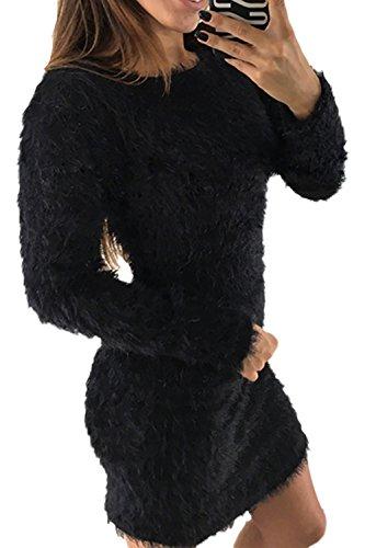 Le Si Maglione Black Scollato Donne Maglione Winter Peloso Vestito Bodycon Mini rqw5rSC