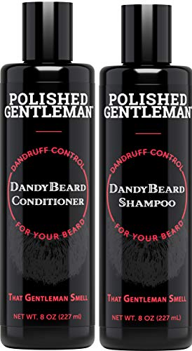 Beard Wash Shampoo and Conditioner Set – for Beard Dandruff and Dry Itchy Beards – with Beard Oils and Tea Tree – Organic Facial Hair Moisturizer Kit – Great Beard Mustache Wash (8oz)