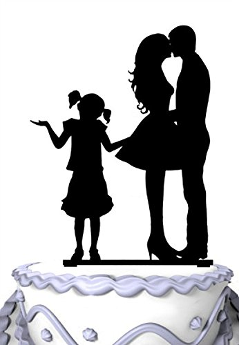 Meijiafei Kissing Bride and Groom with Little Girl Wedding Acylic Cake Topper