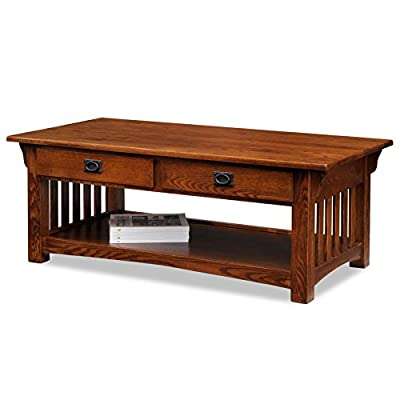 Leick Furniture Mission 2-Drawer Coffee Table, Medium Oak - Hand applied multi-step Dovetailed drawer design for durable reliable performance Storage drawers perfect for remote controls and laptop - living-room-furniture, living-room, coffee-tables - 41OQjBcjXoL. SS400  -