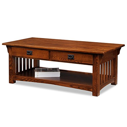 Mission Style 2 Drawer (Leick Furniture Mission 2-Drawer Coffee Table, Medium Oak)