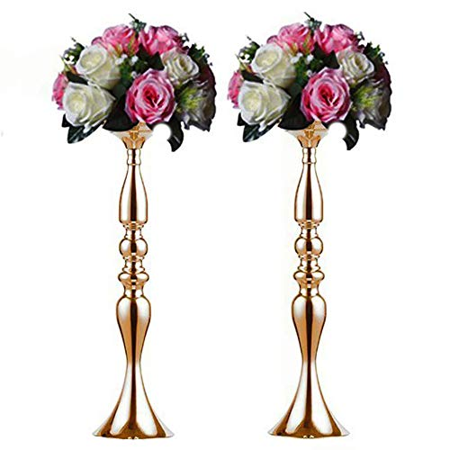 Sfeexun Pcs of 2 Tall Metal Vase for Wedding Centerpieces Decoration-Artificial Flower Arrangement-Pillar Candle Holder Stand Set for Wedding Party Dinner Event Centerpiece Home Decor (Gold, 19.7