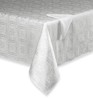 Hanukkah And Jewish Holiday Ivory Damask Tablecloth 70 X 90