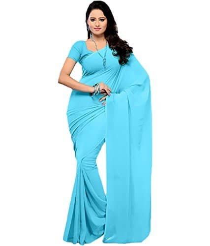 dd78af521a0422 J.A. Women's Sky Blue Color Georgette Plain Saree With Attached Blouse Piece