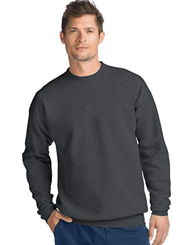 Hanes Men's ComfortBlend Crewneck Fleece Sweatshirt, Charcoal Heather, 3XL