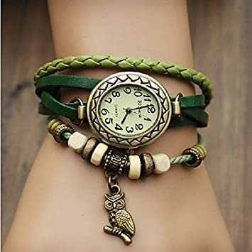 Relojes Hermosos, Reloj pendiente de la Mujer del búho del vintage Estilo banda de cuero