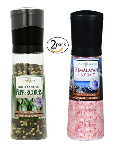 The Gourmet Chef Grinder Set - Multicolored Peppercorn 5.3 oz and Himalayan Pink Salt 13.4 oz - for your Cooking Enjoyment