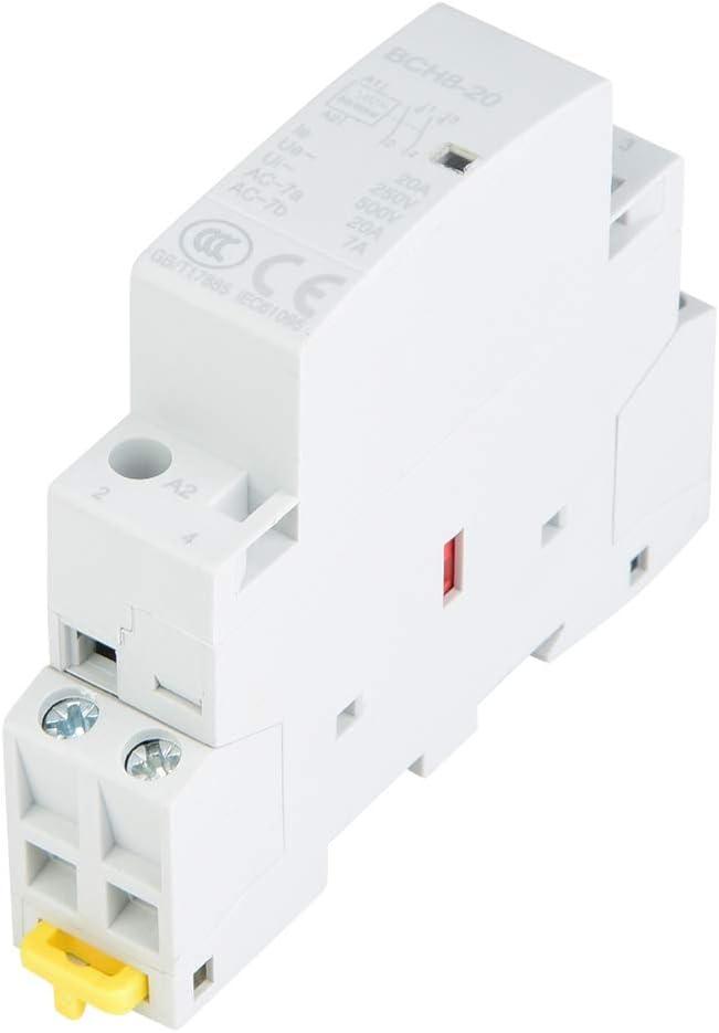 Contactor de CA para el hogar, 2P 20A 24V 220V / 230V 50 / 60Hz Contactor de CA para el hogar Contactor de CA de reemplazo de 2 polos en riel DIN 2NO (24V)