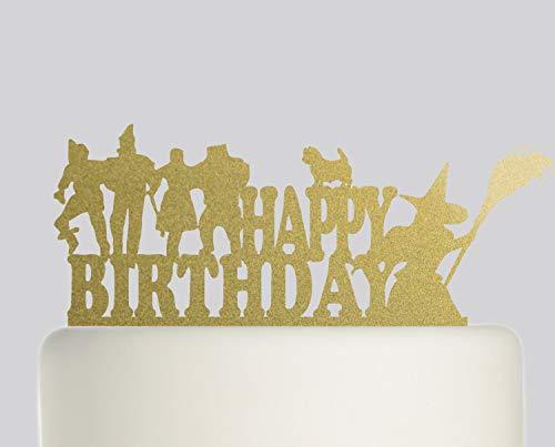 (Birthday Cake Topper - Wizard Of Oz Dorothy Tin Man Lion Scarecrow Toto Cake Topper - Acrylic Cake Topper - Happy)