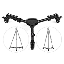 Andoer Foldable Photography Heavy Duty Tripod Dolly Base Stand Flexible Wheels Adjustable Legs Max. Load 25kg with Carrying Bag