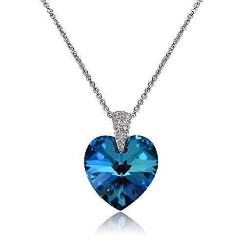 Sterling Silver Bermuda Blue Heart Necklace Created with Swarovski Crystals (Bermuda Blue Crystal)