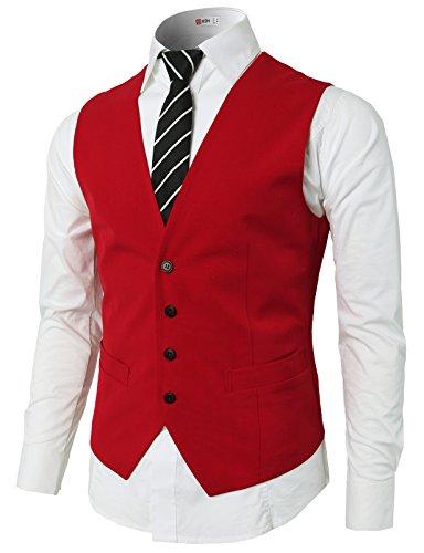 (H2H Mens Classic Formal Slim Fit Premium Business Dress Suit Button Down Vests RED US L/Asia XL (KMOV0142))