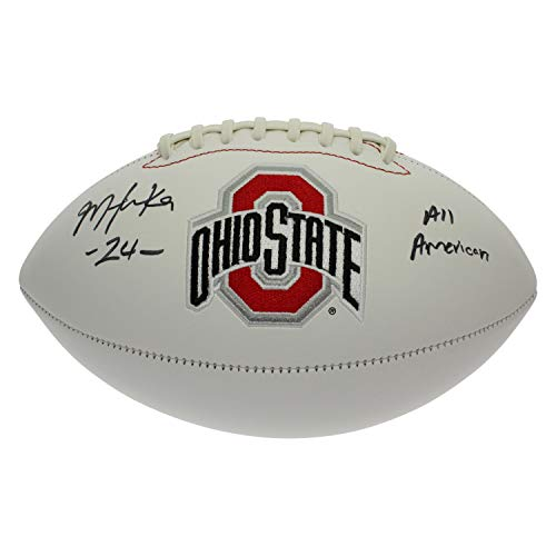 Malik Hooker Autographed Signed Ohio State Buckeyes White Panel Football - All American - Certified Authentic