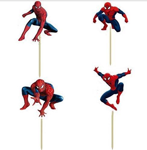 Pack of 24 Spiderman Cupcake Topper Picks Boy Children Party Decoration Kid's Birthday Party Decoration Supplies -