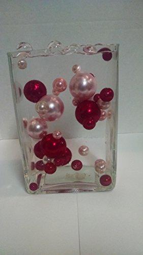 Easy Elegance 34 Pink & Red Pearl Beads w/12 Gram Pack Clear JellyBeadZ Water bead gel