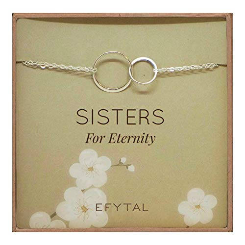 EFYTAL Sterling Silver Sisters Bracelet, Infinity Joined Two Interlocking Double Circles on Card Gift for Sister