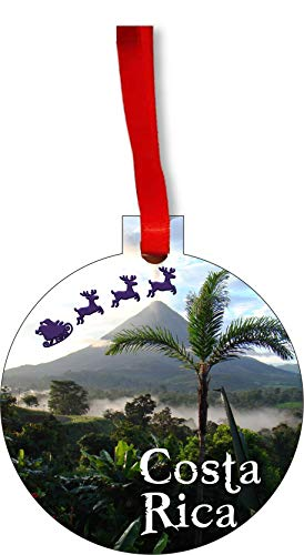 Rosie Parker Inc. Santa Klaus and Sleigh Riding Over The Arenal Volcano, Costa Rica Round Shaped Flat Hardboard Christmas Ornament Tree Decoration - Unique Modern Novelty Tree Décor Favors