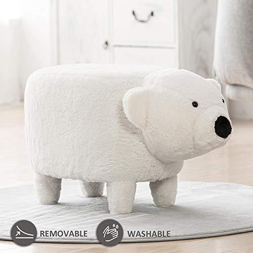 JOYBASE Washable Animal Ottoman, Footrest Stool, Soft Plush Ride on Seat (White - Footstool Plush Bear
