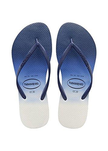 Havaianas Slanke Dip Kleurstof Slippers - Marine Blauw Uk 67