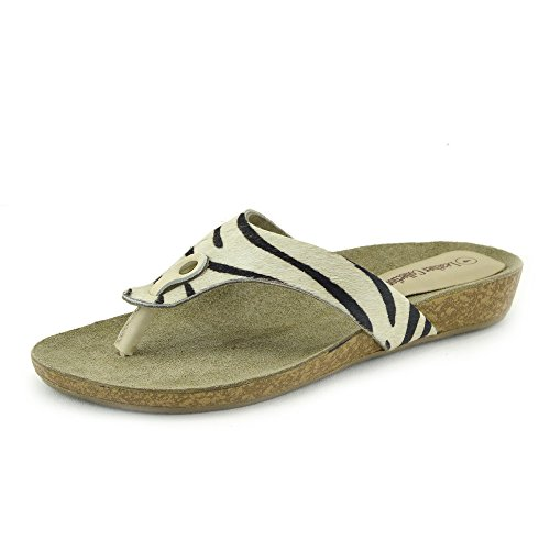 Zapatillas De Fashion Summer Beach Sandalias Piel Natural Negro-Blanco