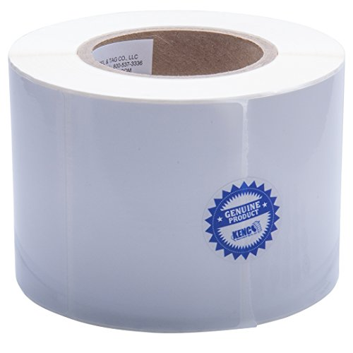 "Kenco Premium Inkjet 4"" X 3"" Rectangle High Gloss Paper Roll-Fed inkjet Labels. Compatible with Primera Color Label Printers and Many other Printer Brands. Supplied 850 Labels on a 3"" core."