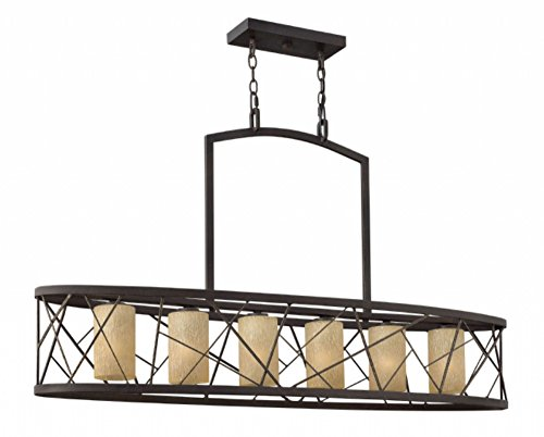 Fredrick Ramond FR41616ORB Six Light Distressed Amber Etched Glass Oil Rubbed Bronze Candle Chandelier ()