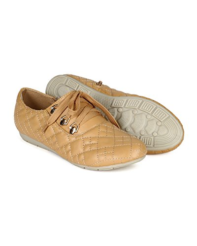 Round Camel Up Quilted Women Sneaker Breeze Lace CC13 Nature Leatherette Toe 8qTSIvFw