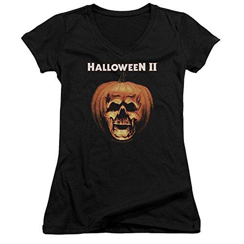 Halloween II Horror Slasher Movie Pumpkin Shell Juniors V-Neck T-Shirt Tee ()