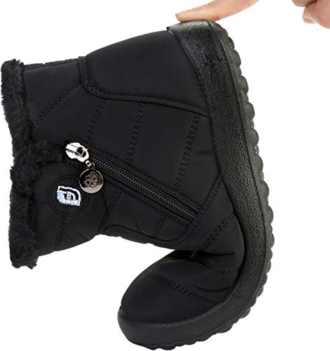 Black Ankle Slip Winter Middle Skid Anti Flat for Snow Womens Plush Outdoor Boots Waterproof On Lining JOINFREE Couples F7q4TzwUw