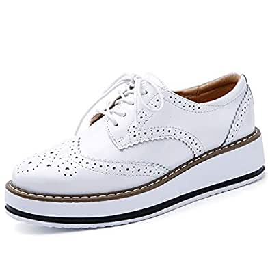 Catata Womens Platform Oxford Closed Toe Lace-up Brogue Shoes White